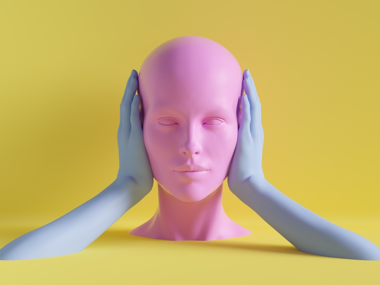 3d render, female mannequin head, ears closed by hands, silence concept, isolated object, minimal fashion background, shop display, pink blue yellow pastel colors
